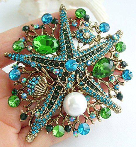 Sindary 3.15'' Starfish Brooch Pin Austrian Crystal Pendant BZ6412 (Gold-Tone Green) by Sindary Jewelry (Image #1)