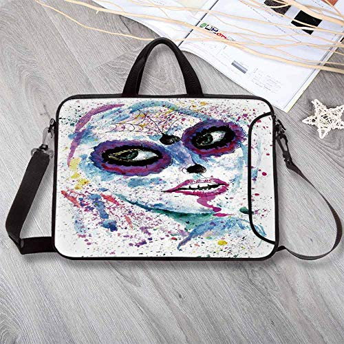 Girls Waterproof Neoprene Laptop Bag,Grunge Halloween Lady with Sugar Skull Make Up Creepy Dead Face Gothic Woman Artsy Laptop Bag for Business Casual or School,14.6