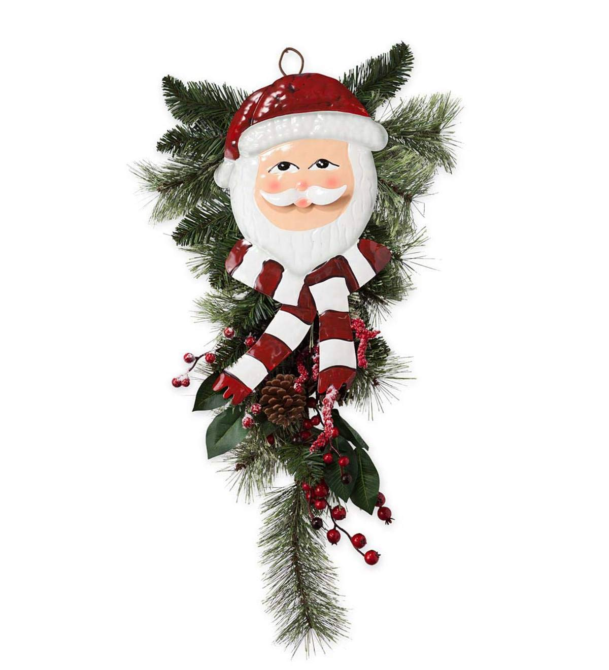 Plow & Hearth Holiday Door Swag with Santa Face - Approx. 27.5 L x 13 W