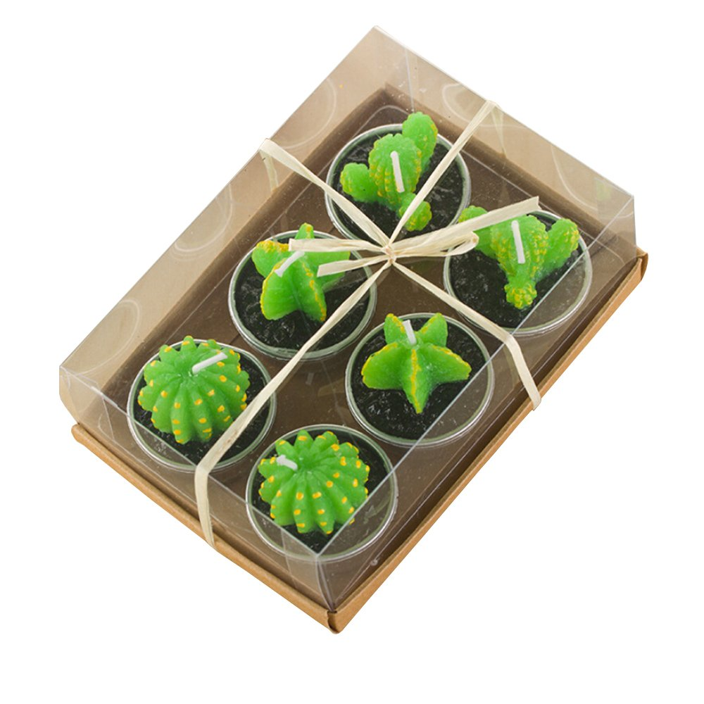 Cactus Candles, 6 Pcs Mini Cute Carambola Prickly pear Tealight Candles Handmade Succulent Cactus Candles for Home, Decor, Gift, Birthday Party (Cactus) Wind' s Legend