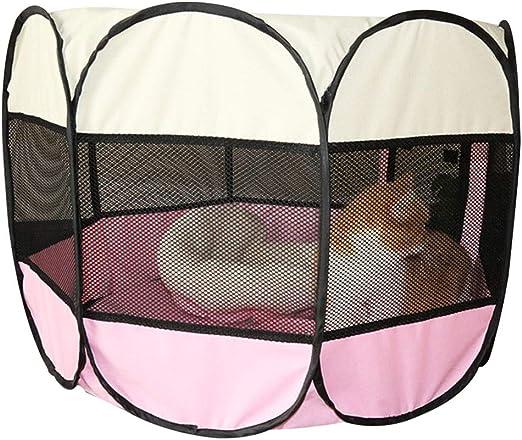 Corral para Perro, Parque Juego Tienda Campaña Mascota Entrenamiento Jardin Al Aire Libre Mosquitera 8 Vallas Cama (Color : Pink, Size : S 112×112×60cm): Amazon.es: Hogar