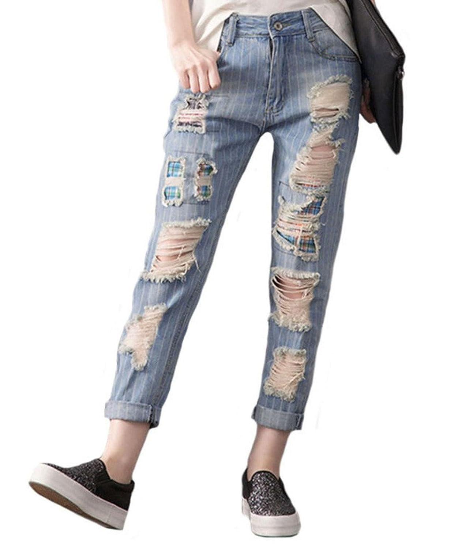 Tortor 1bacha Women's Stripe Destroyed Jeans Ripped Distressed Denim Pants