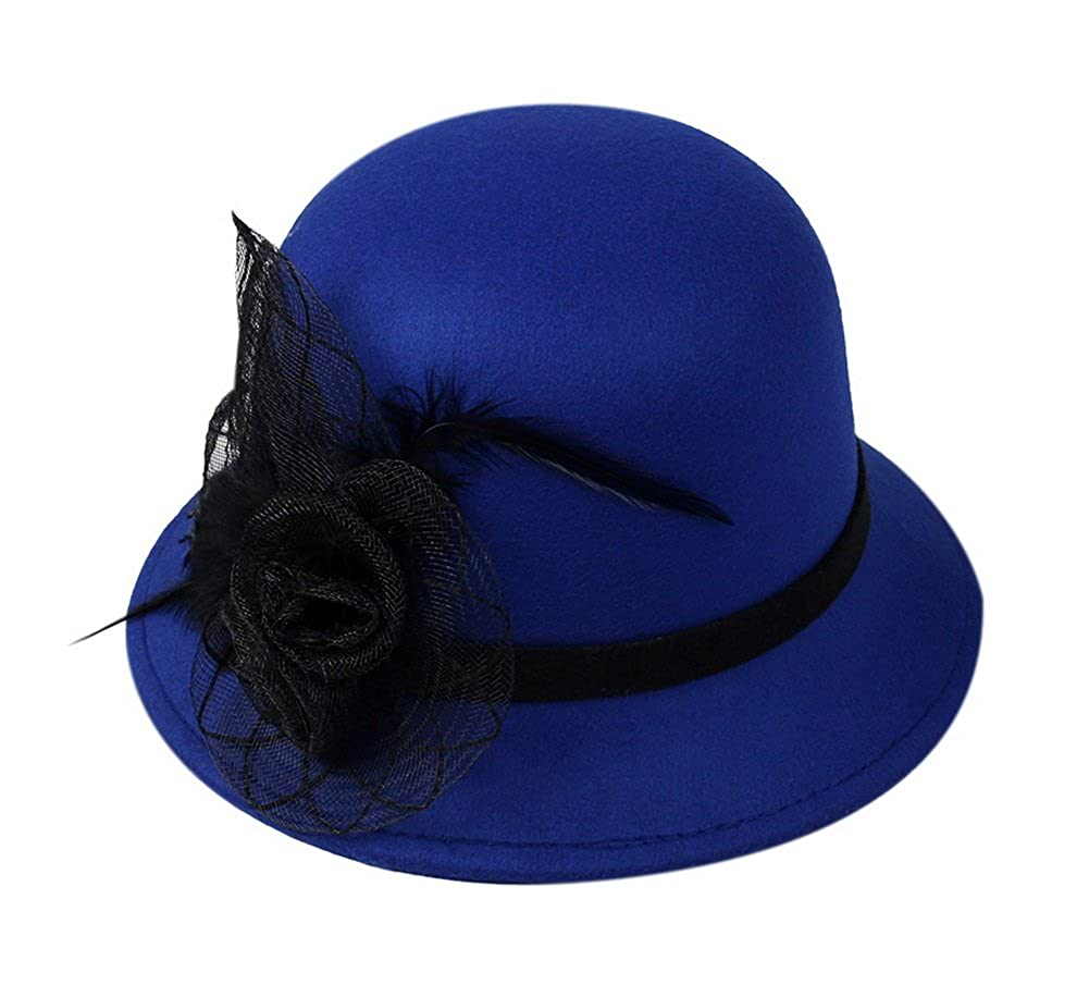 Women Vintage Wool Felt Bowler Hat Wide Brim Hat with Feather Flower ... 37365a3adf4
