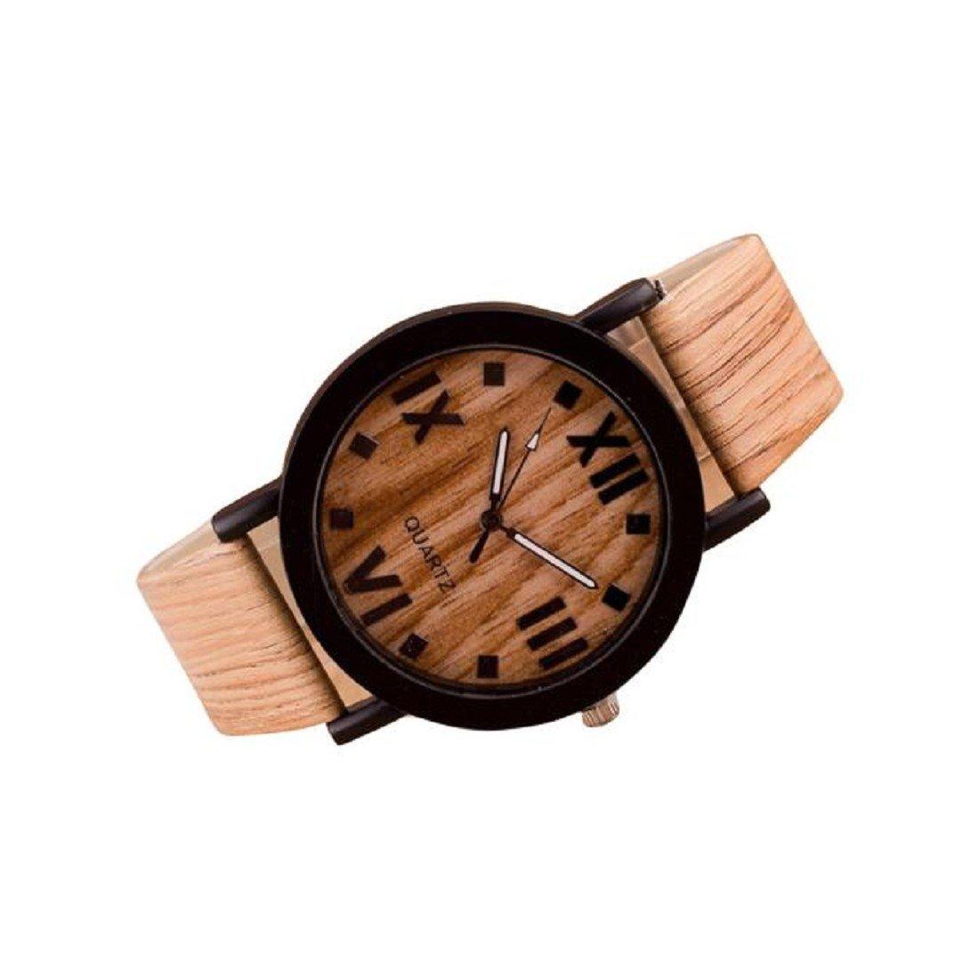 Hemlock Retro Roman Numerals Quartz Wrist Watches Wood Analog PU Leather Band Watches Light Brown
