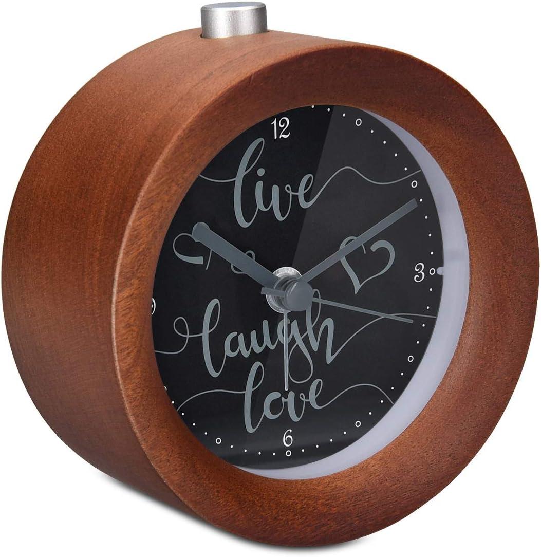 Navaris Réveil Matin Silencieux Horloge réveil Bois foncé à Aiguilles avec Fonctions Heure Alarme Snooze lumière Cadran Live Laugh Love