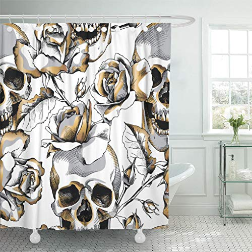 Top shower curtain gold and black
