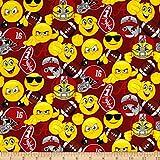 Emoji Fabric By the Yard Sykel Enterprises Collegiate Cotton University of Alabama Emoji Fabric by The Yard, Multi
