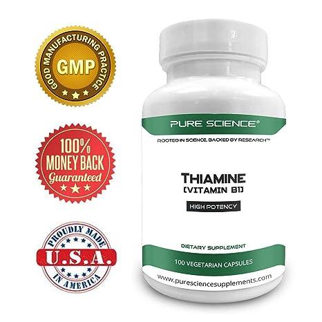 Pure Science Vitamina B1 Tiamina 100mg - Suplemento de tiamina para aliviar los síntomas de la deficiencia de tiamina - 50 cápsulas vegetarianas de polvo de ...