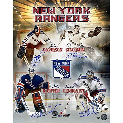 Eddie Giacomin/Mike Richter/John Davidson/Henrik Lundqvist Multi Signed New York Rangers Goalies 16x20 Collage Photo - Steiner Sports