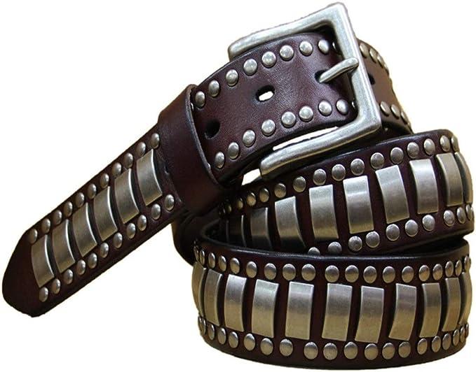 AnoJm Rivetti proiettili Fibbia ad ardiglione Cintura in Pelle da Uomo e Donna Cintura Punk Unisex Abbinamento Perfetto con Il Tuo Outfit Color : Black, Size : 115CM