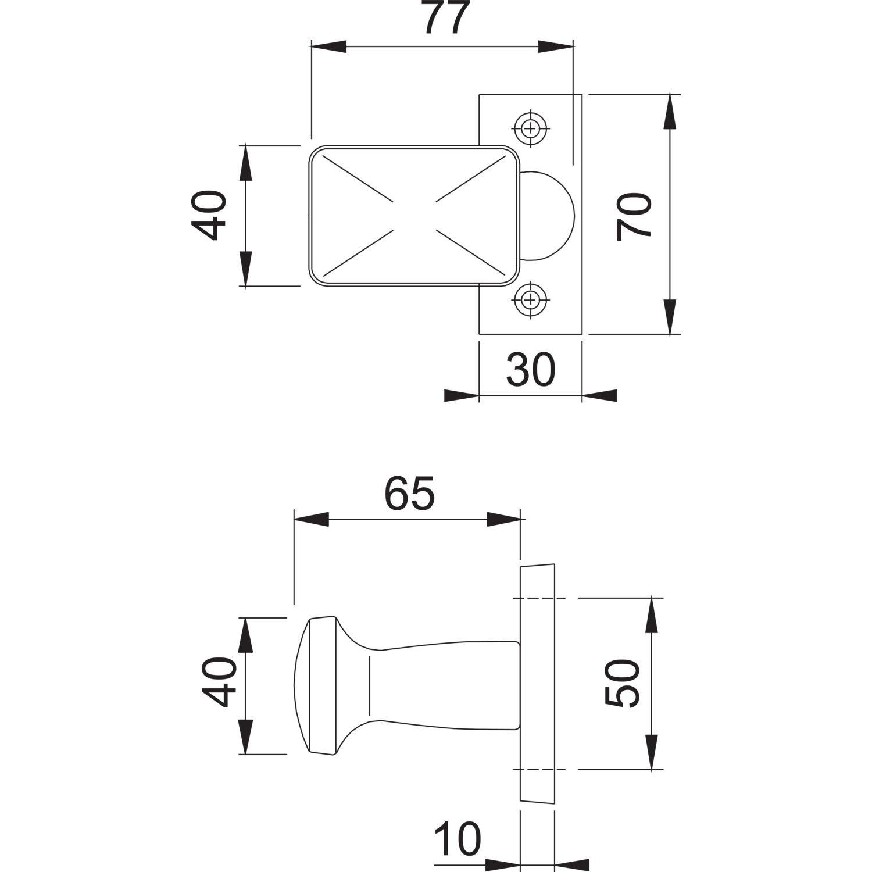 Flachform verkr/öpft| Aluminium silber eloxiert Fix-Knopf HOPPE T/ür-Knauf auf eckiger Rosette 1 St/ück