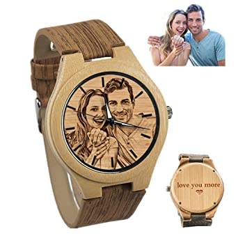 Personalized Customized Wooden Watch with Photo Or Message Double-Side Engraving for Personalized Gift (