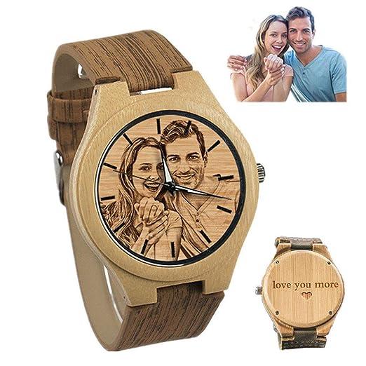 Relojes Personalizados de Madera Grabados para Hombres. Reloj de Madera Natural. Regalo Personalizado de Navidad para Hombres.: Amazon.es: Relojes