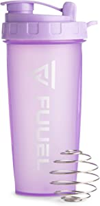 Shaker Bottle with Lanyard, Purple, 24oz - Leak Proof Mixer Cup with Stainless Steel Blending Ball - Mixing Bottles for Protein Shakes - Premium Fitness Accessories