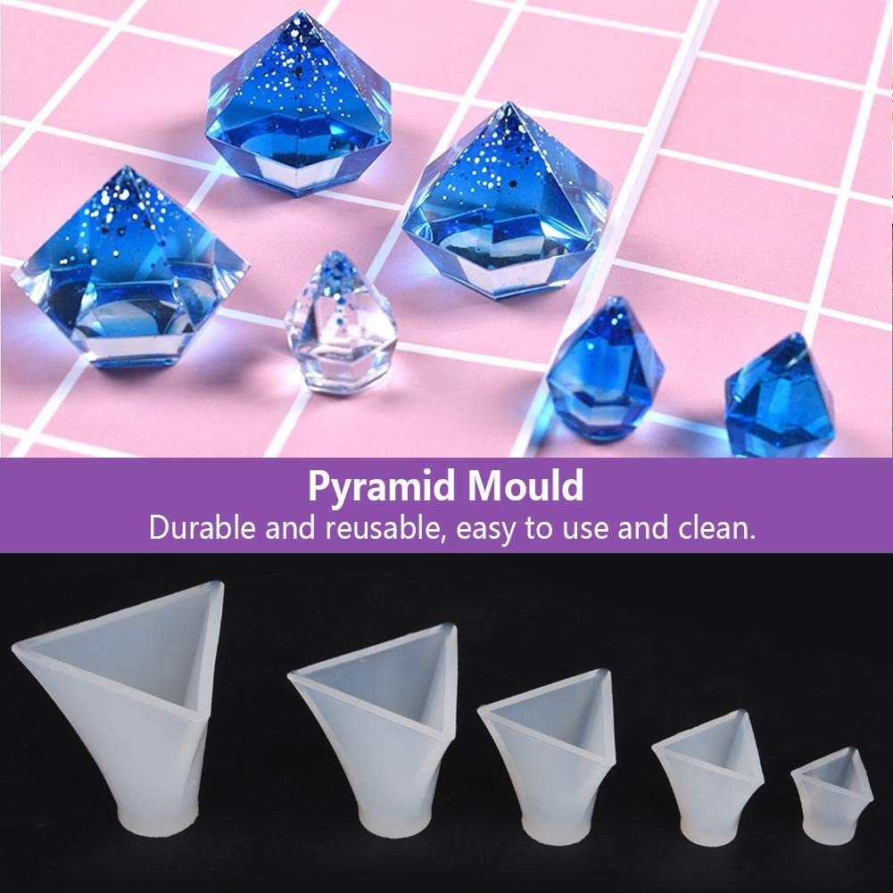 Pyramid Silicone Mould Set,5 Pcs Different Sizes Silicone Triangular Pyramid Mold Resin Casting Molds for DIY Decorative Craft Making