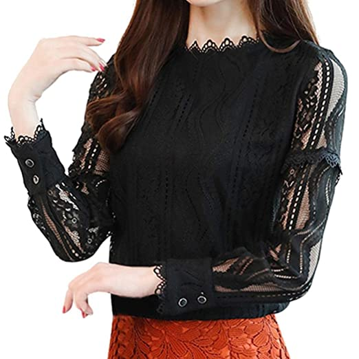 9b7ff4736c5922 Women Plus Size Top Lace Long Sleeve Turtleneck Sweater Office Work Shirt  Blouse(Black,