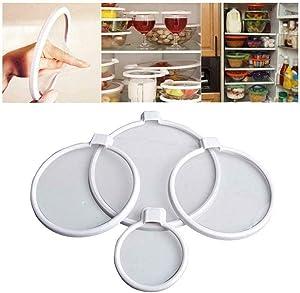 Helen & Co 4PCS Keepeez Vacuum Food Sealers Lid Press N Seal Bra Free Preserve Food
