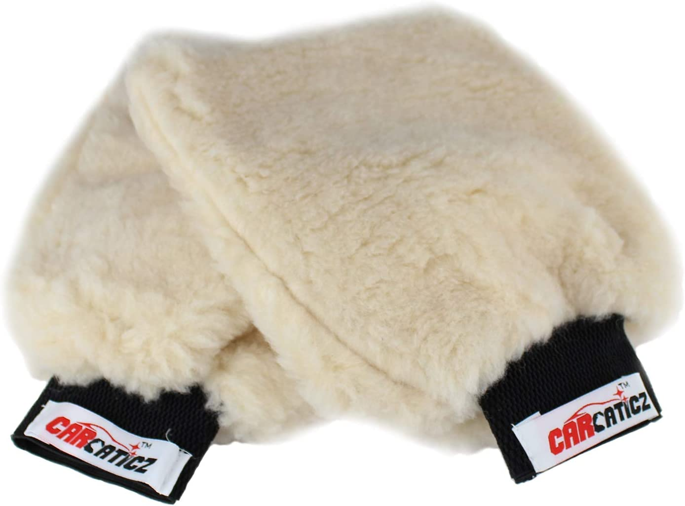 CARCATICZ Synthetic Sheepskin Lambswool Wash Mitt for Cars, SUV, Boats, RV, Home, Lint Free, Scratches Free Cleaning Glove, 100% Polyester, Beige Color, 2 Pack