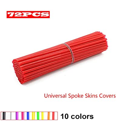 JOYON 72 Pcs Universal Spoke Skins Covers Coats for Motorcycle Dirt Bike Kawasaki Honda Yamaha BMW Suzuki(Red): Automotive