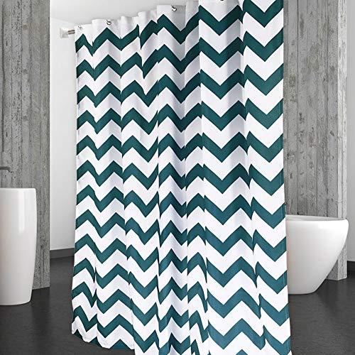 Green Striped Shower Curtain - CAROMIO Chevron Shower Curtain, Water Repellent Geometric Striped Fabric Shower Curtain for Bathroom, 72 x 72 inch, Dark Teal