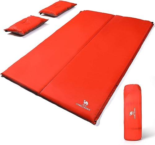 CAMEL CROWN Camping Sleeping Pad 2 Thick Foam Mat,Individual Double Self-Inflating Sleeping Pad Air Mattre