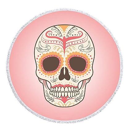 Esqueleto Humano cráneo máscara Flor Planta Manta de Toalla de Playa Redonda de Microfibra, diseño