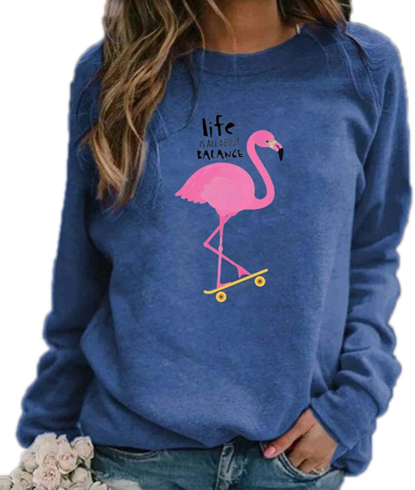 worclub T-Shirt con Stampa Divertente Flamingo Skateboard T-Shirt a Manica Lunga ONeck con Stampa Grafica da Donna
