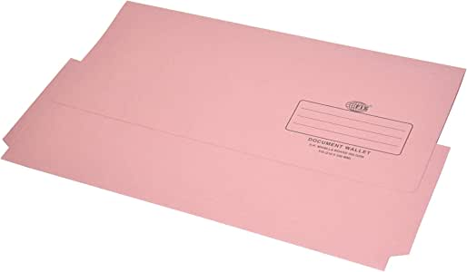 FIS Document Wallets Pink Color, Pack of 50 Pcs, 320 gsm, F/S (210 x 330 mm) Size - FSFF8PI
