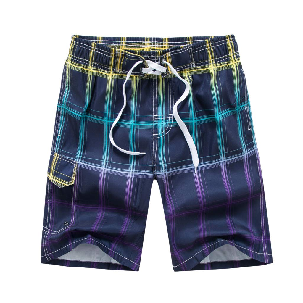 ZhixiaYS Men Colored Grid Beach Shorts Quick Dry Shorts Swimsuit Swimming Trunks Sportswear