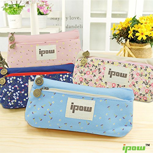 Ipow Flower Floral Canvas Cosmetic Pen Pencil Stationery Pouch Bag Case Set of 4 (Pastorabl)