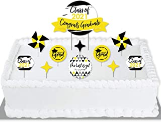 product image for Big Dot of Happiness Yellow Grad - Best is Yet to Come - 2021 Yellow Graduation Party Cake Decorating Kit - Congrats Graduate Cake Topper Set - 11 Pieces