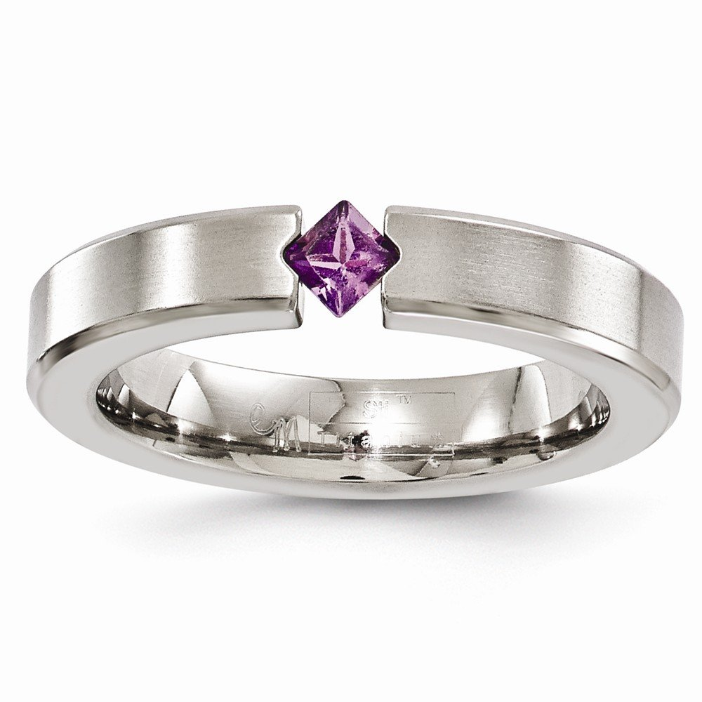 Bridal Wedding Bands Decorative Bands Edward Mirell Titanium Brushed Amethyst 4mm Band Size 8