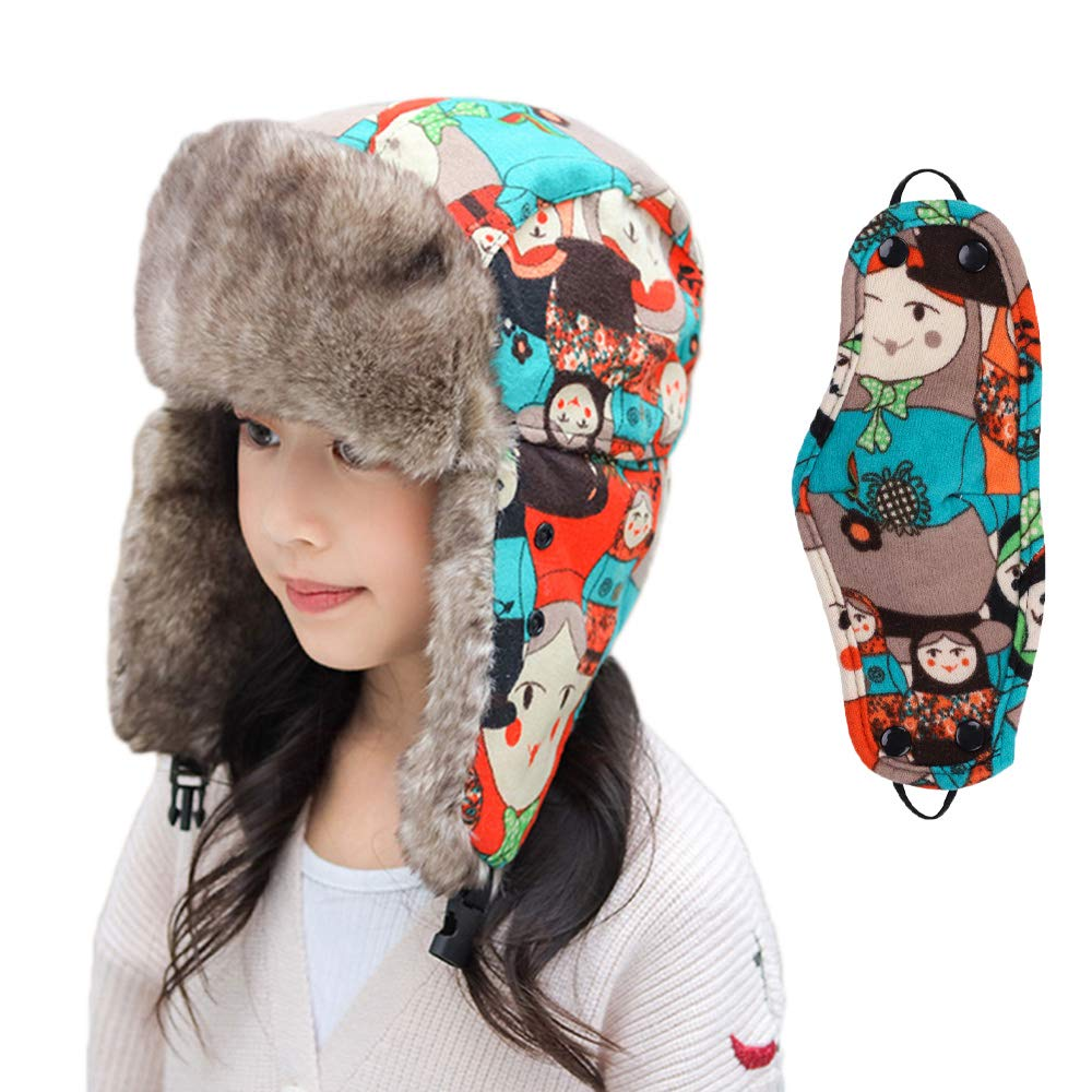 ITODA Unisex Kids Teens Trapper Hat Warm Winter Hat Earflap Bomber Hats Faux Fur Russian Trooper Hat Boys Girls Windproof Snow Ski Snowboarding Cycling Hat with Ear Flap for Children Age 5-15