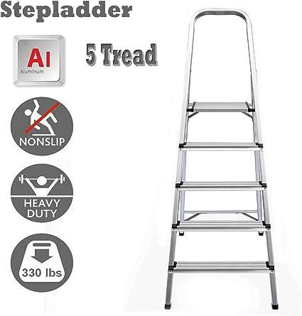 Escalera de 5 peldaños plegable de aluminio ligero con pasamanos de seguridad antideslizante, carga máxima 150 kg EN131 certificado: Amazon.es: Oficina y papelería