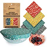 Reusable Beeswax Food Wrap Set - Zero Waste Food Storage Wraps Made of Organic Beeswax and Eco-Friendly Biodegradable Cotton Cloth - 1 Each Small, Medium, Large and XL Sandwich Wraps & Bowl Covers
