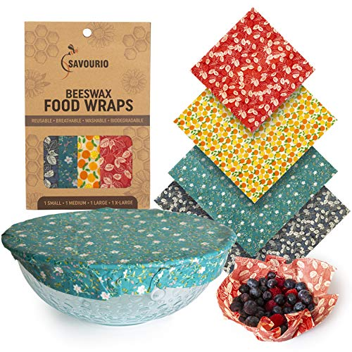 Savourio Reusable Beeswax Food Wrap - Eco-Friendly, Organic, Biodegradable Sustainable - Food Storage Wrappers, Alternative To Plastic Bags, Beeswax Cloth, Organic Beeswax Wraps Cling - Wax Sandwich