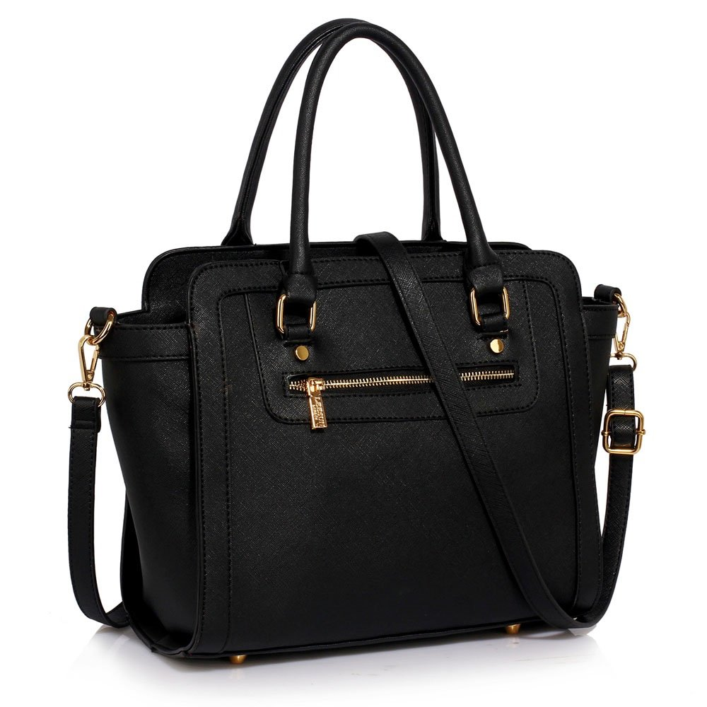 391608329377 LeahWard Women s Two Tone Shaped Nice Great Handbags Tote Bags (ALL BLACK)   Amazon.co.uk  Shoes   Bags