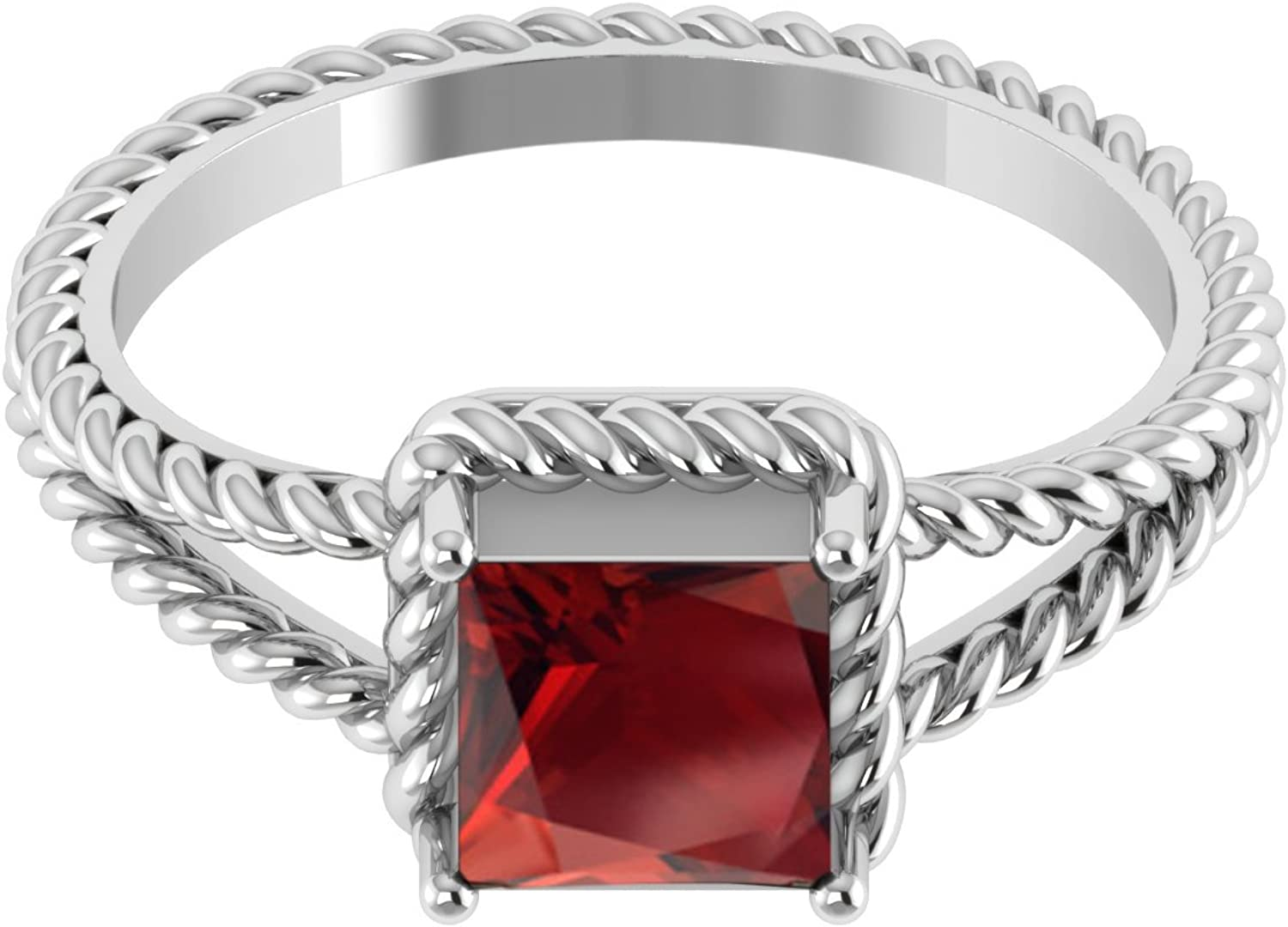 Square Cut Garnet Single Stone 925 Sterling Silver Twisted Rope Womens Wedding Gift Ring