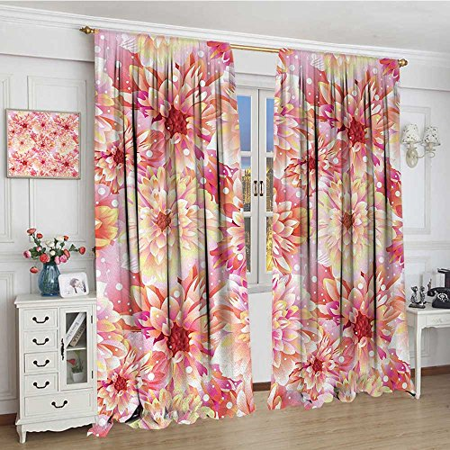 youpinnong Dahlia Flower Window Curtain Fabric Double Apple Blossom with Overlap Axis and Twist Bluntly Circle Pompons Lengthened Drapes for Living Room 84