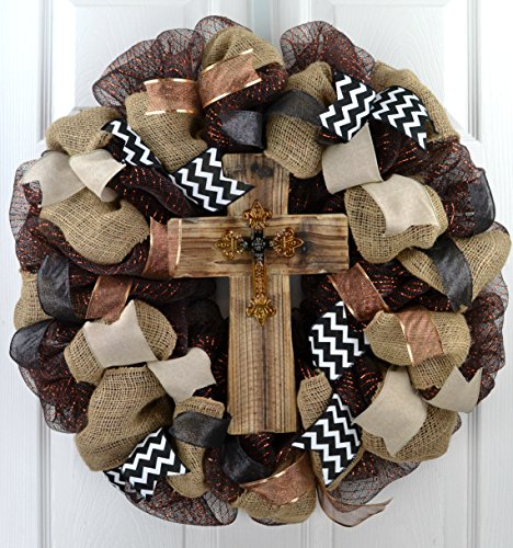 - Cross Wreath | Year Round Wreath | Mom Gift | Black Burlap White Rustic Front Door Wreath