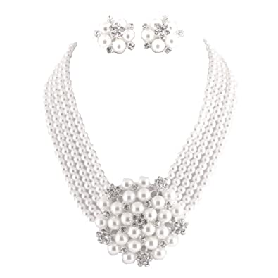 Audrey Hepburn Breakfast at Tiffany's Bridal Pearl Jewelry Set Flapper Vintage Costume 01IT1