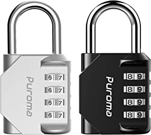 Puroma 2 Pack 4 Digit Combination Locks Outdoor Waterproof Padlock for School Gym Locker, Hasp Cabinet, Gate, Fence, Toolbox (Silver & Black)