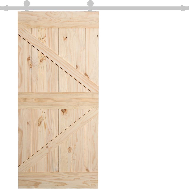 Homcom - Puerta corredera de madera de pino lacado DIY, 213 x 96,5 ...