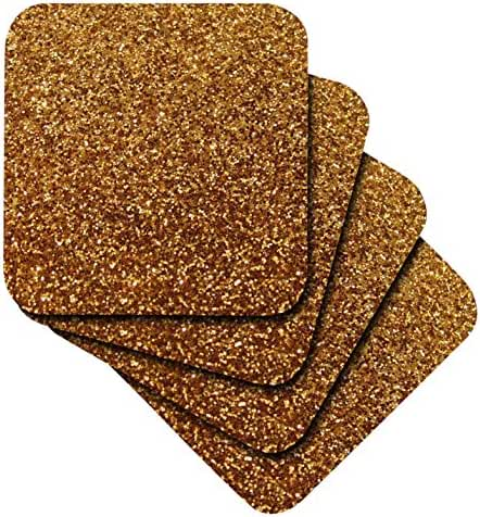 3dRose Gold Faux Glitter - Photo of Glittery Texture - Glam Sparkles Sparkly Bling - Glam Stylish Girly - Soft Coasters, Set of 8 (cst_112928_2)