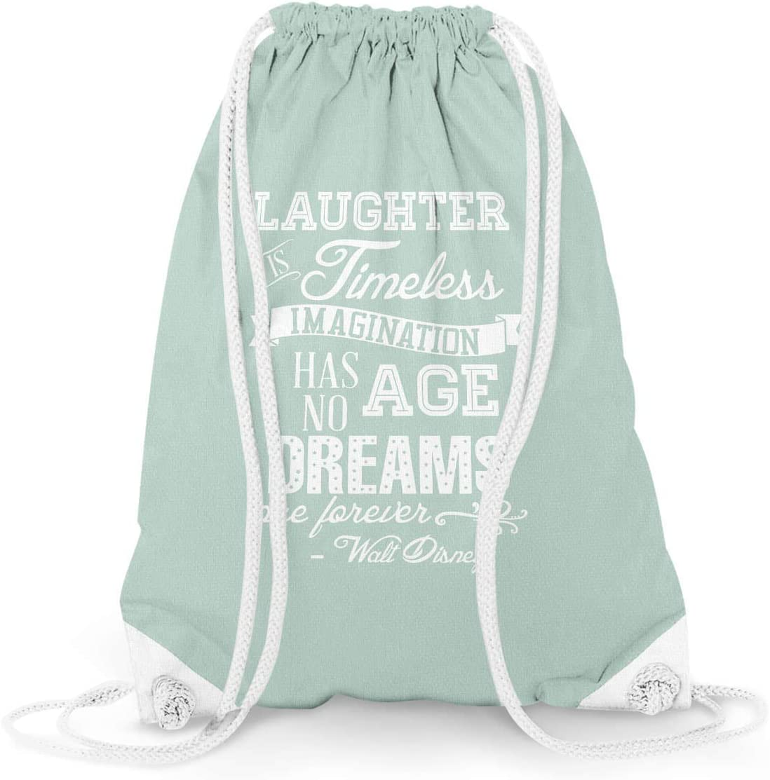 Laughter is Timeless Walt Disney Quote Mint 13.3 x 17.3 - Drawstring Bag Large