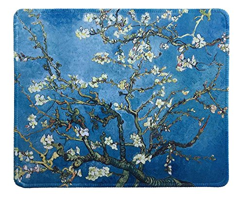 (dealzEpic - Art Mousepad - Natural Rubber Mouse Pad with Famous Painting of Almond Blossoms by Vincent Van Gogh - Stitched Edges - 9.5x7.9 inches)