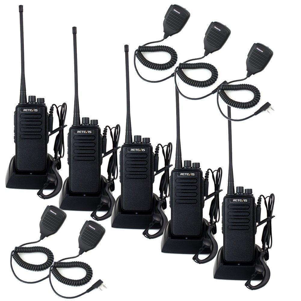 Retevis RT1 Professional Walkie Talkies Long Range UHF High Power Emergency Alert Encryption Long Distance Two Way Radios with Earpiece and Mic 5 Pack
