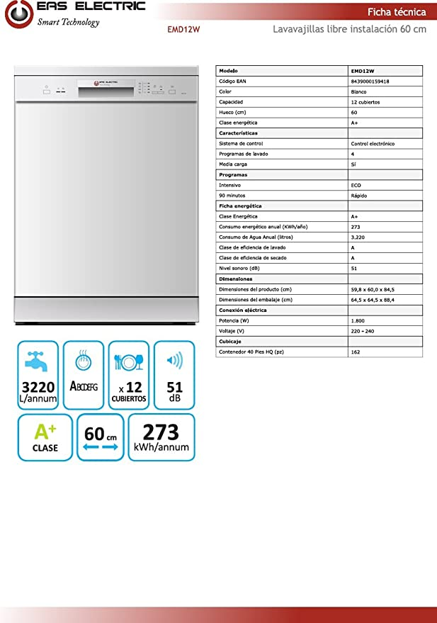 Lavavajillas Blanco Eas Electric EMD12W 60cm A+: Amazon.es ...