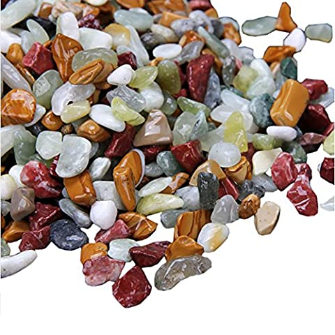 Yarssir Natural Pebble Fish Tank Landscape Bottom Sand Colored Stones for Potted Turtles Aquarium Decorations - 2 lb - River Rock Centerpieces