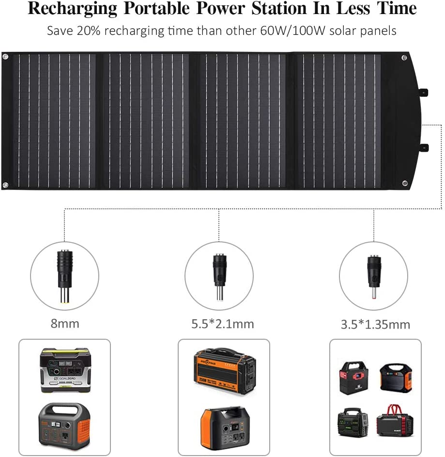 Goal Zero and Van RV Camping Travel with QC3.0 USB Rockpals ZOOMBROS 120W Foldable Solar Panel for Portable Generator Power Station Prymax 120 Watt Solar Panel Charger Compatible with Jackery